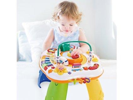 Mluvící a hrající interaktivní stoleček New Baby s jezdícím vláčkem CZ/SK - dle obrázku  + Nanopodložka, loupač, nebo desinfekce