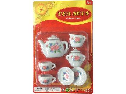 Set dětský porcelánový čajový servis růžičky dětské nádobíčko v krabici