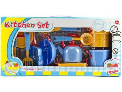 Dětské nádobí plastové barevné set 11ks s hrnci a nástroji v krabici