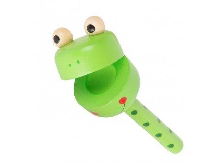 Small Foot Displej dřevěné chrastítko zvířátka 1ks žabka Small Foot Displej dřevěné chrastítko zvířátka 1ks žabka