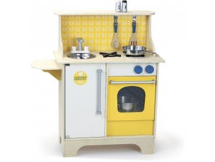 Vilac Dřevěná kuchyňka Cuistot žlutá  + Nanopodložka, loupač, nebo desinfekce