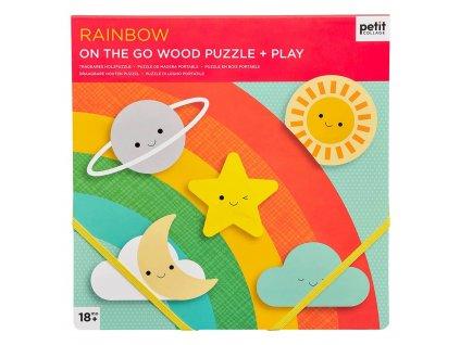 Petit Collage Robustní dřevěné puzzle Rainbow