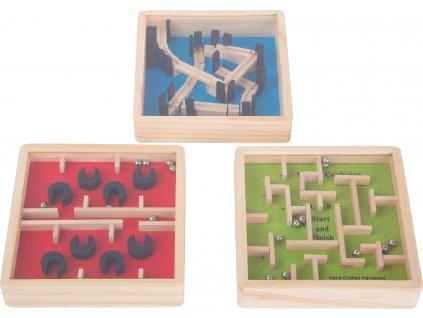 Dřevěný barevný kuličkový labyrint 1 ks žlutý