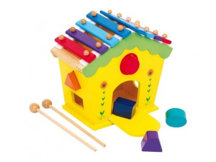 Small Foot Dřevěný domeček vkládačka a xylofon v 1