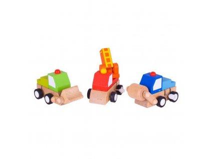 Bigjigs Toys Dřevěná barevná autíčka na natahování