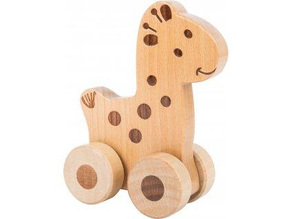 Small Foot Dřevěné zvířátko na kolečkách 1ks žirafa Small Foot Dřevěné zvířátko na kolečkách 1ks žirafa