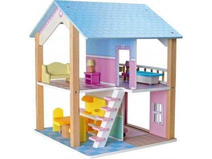 Small Foot Dřevěný domeček pro panenky modrá střecha  + Nanopodložka, loupač, nebo desinfekce