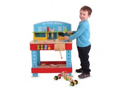Bigjigs Toys Dřevěný pracovní stůl  + Nanopodložka, loupač, nebo desinfekce