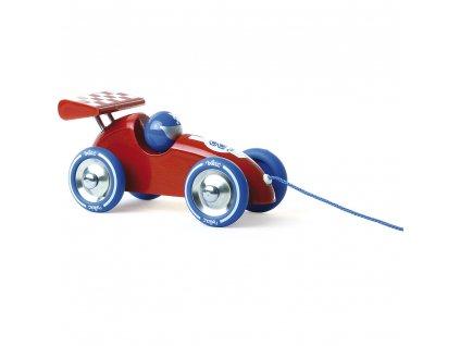 Vilac Tahací závodní auto červené s červeným křídlem