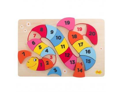Bigjigs Toys Vkládací puzzle čísla had