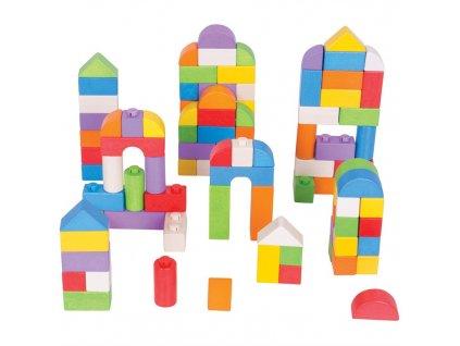Bigjigs Baby Dřevěné kostky barevný set 100 kusů  + Nanopodložka, loupač, nebo desinfekce