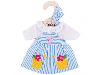 Bigjigs Toys Modré pruhované šaty pro panenku 28 cm