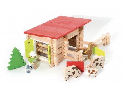 Jeujura Dřevěná stavebnice 100 dílů Country ranč