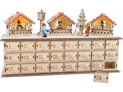 Small Foot Dřevěný adventní kalendář vánoční trhy  + Dárek zdarma
