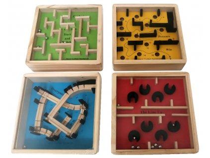 Small Foot Displej dřevěný barevný kuličkový labyrint 1 ks