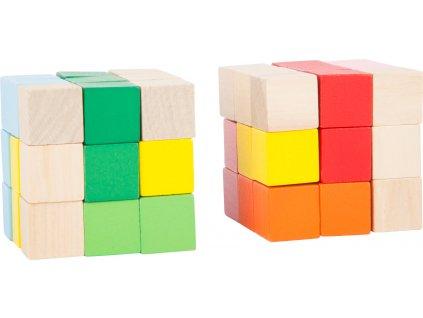 Small Foot Dřevěná barevná skládací kostka 1 ks