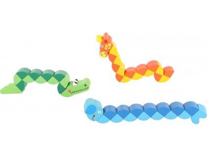 Dřevěné barevné skládací zvířátka 1 ks Slon Dřevěné barevné skládací zvířátka 1 ks Slon