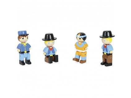 Jeujura Dřevěné figurky ke stavebnicím Divoký západ 4 ks