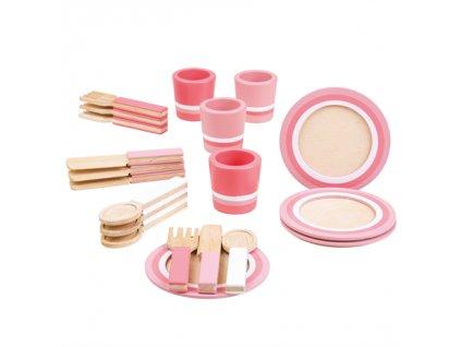 Bigjigs Toys Dřevěný snídaňový servis růžový  + Dárek zdarma