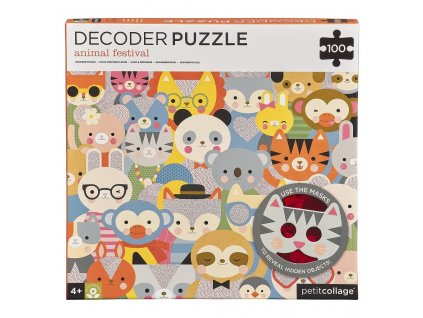 Petitcollage Puzzle zvířátka 100 ks s 3D brýlemi