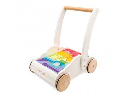 Le Toy Van Petilou Vozík s duhovými kostkami  + Dárek zdarma