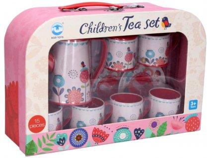 Sada dětské malované nádobí čajový servis kovový 15ks v kufříku