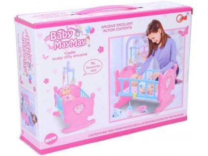 Postýlka dětská herní set kolébka s miminkem a doplňky plast