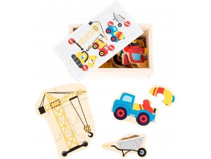 Small Foot Dřevěné puzzle stavební stroje