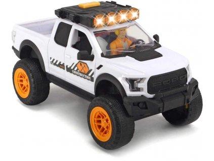 DICKIE Auto Ford Raptor set s přívěsem a bagrem volný chod na baterie Světlo Zvuk