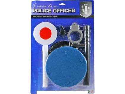 Sada policejní plácačka s čepicí a doplňky malý policajt na kartě