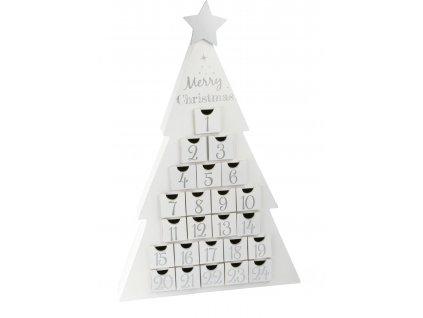 Small Foot Dřevěný adventní kalendář vánoční stromeček bílý