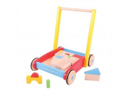 Bigjigs Baby Dřevěné kostky ve vozíku  + Dárek zdarma