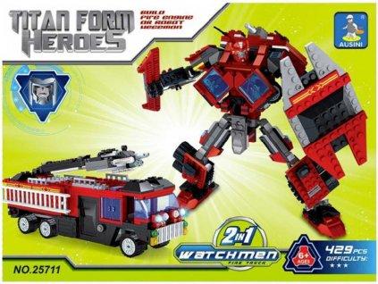AUSINI Stavebnice HEROES 2v1 Robot / auto Hasiči sada 429 dílků plast