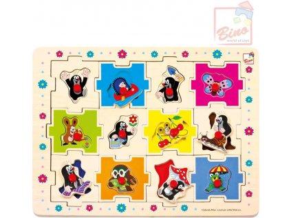 BINO DŘEVO Edukativní skládanka Krtek (Krteček) 24 dílků vkládačka puzzle 2v1
