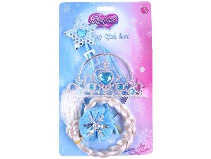Princezna zimní království set korunka s copem a hůlkou na kartě plast