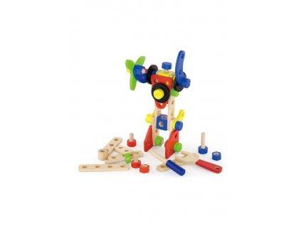 Dřevěná konstrukční stavebnice pro děti Viga 48 dílů - multicolor