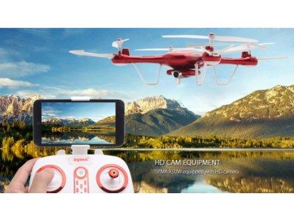 SYMA X5UW - WIFI-HD kamera + barometr + super ovládání telefonem ČERVENÁ  + Nanopodložka, loupač, nebo desinfekce