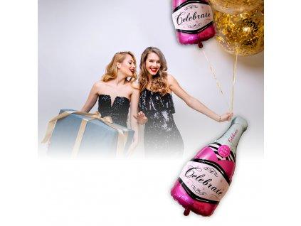 Fóliový balónek - růžové šampaňské