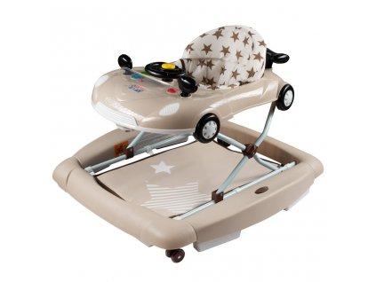 Dětské chodítko s houpačkou a silikonovými kolečky New Baby Little Racing Car - béžová  + Nanopodložka, propiska, nebo desinfekce