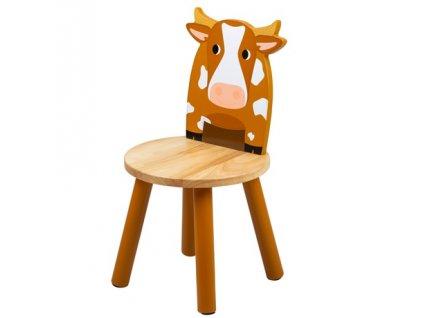 Tidlo Dřevěná židle kravička  + Dárek zdarma