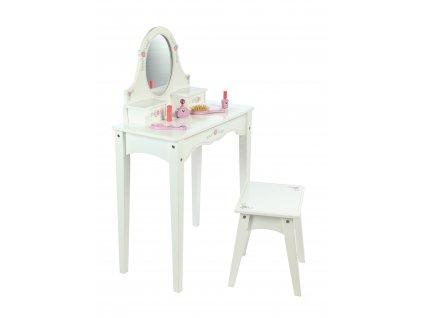 Tidlo Dřevěný kosmetický stoleček bílý  + Nanopodložka, loupač, nebo desinfekce