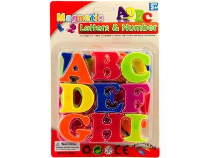 Písmena magnetická barevná 4cm set 27ks na kartě plast