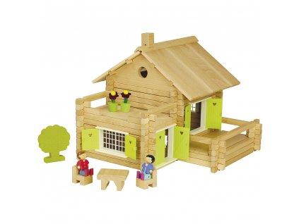 Jeujura Dřevěná stavebnice 175 dílků Velký dům  + Dárek zdarma