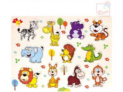 BINO DŘEVO Baby puzzle vkládací zvířátka safari 11 dílků na desce