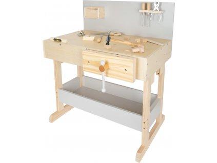 Small Foot Dětský pracovní stůl šedý s nářadím  + Dárek zdarma