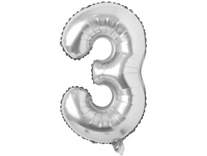 Nafukovací balónky čísla maxi stříbrné - 3