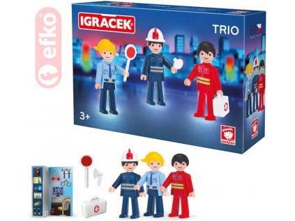 EFKO IGRÁČEK TRIO Zachraňujeme set 3 figurky s doplňky v krabičce STAVEBNICE
