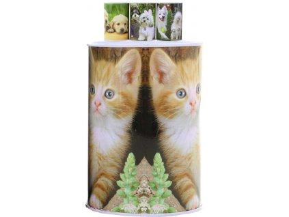 Pokladnička foto Pejsci / Kočičky 12cm dětská kasička plechovka 4 druhy