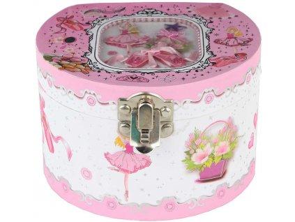 Šperkovnice skříňka hrací s panenkou baletkou na natažení v sáčku