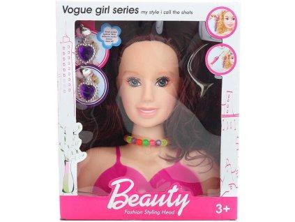Hlava česací brunetka set s hřebenem a dětskou bižuterií v krabici